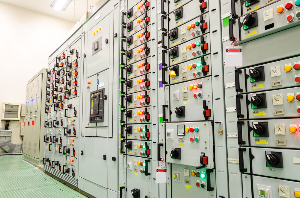 HMIs and industrial control systems control room in electric utility